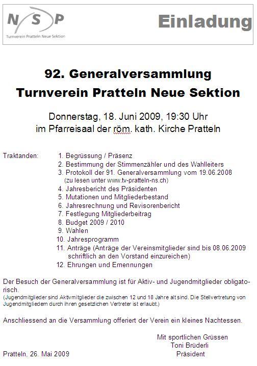 archiv archive - seite 132 von 270 - tv pratteln ns, Einladung